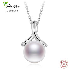 Hongye 925 Sterling Silver Natural  Freshwater Pearl Pendant Necklace Long Chain Necklace Jewelry Wedding Necklace Accessories real new natural freshwater pearl necklace with 925 sterling silver pendant necklace for women natural pearl jewelry