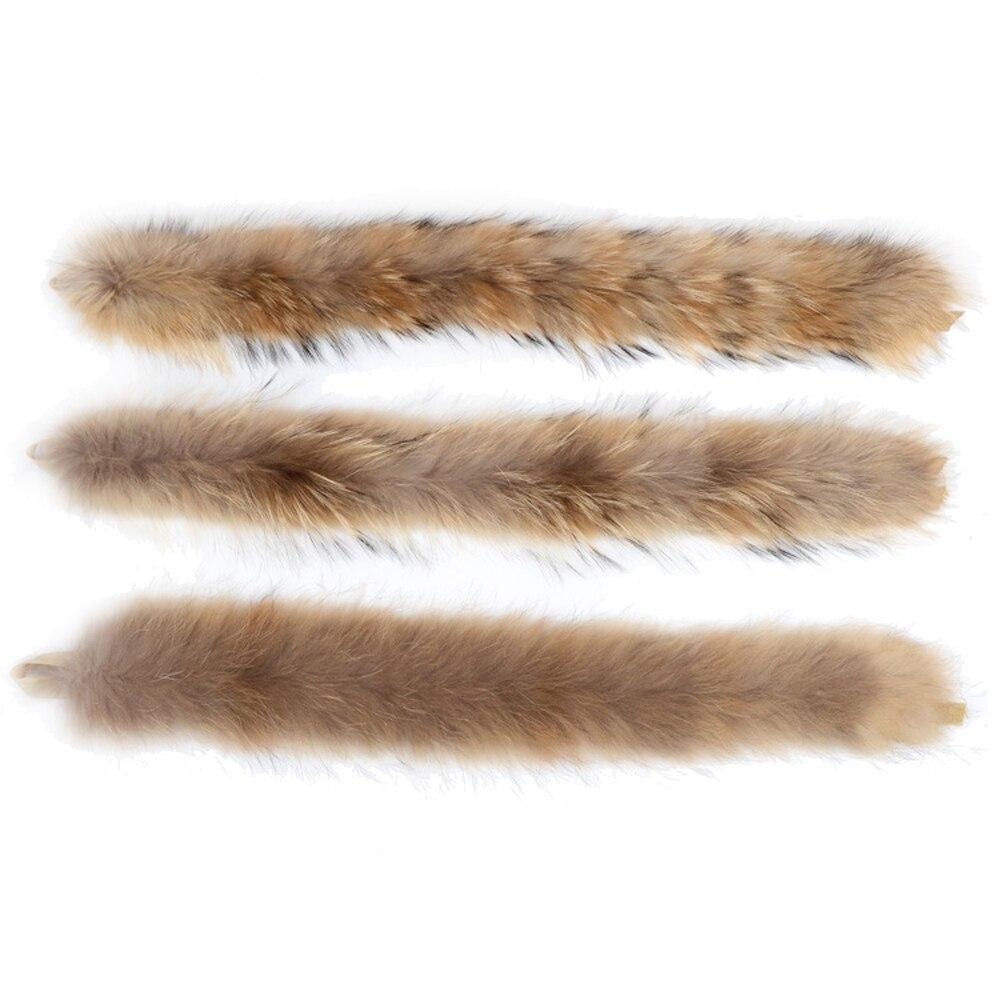 Real Raccoon Fur Strip/Hooded 68-70CM Fur Trim of Down Coat