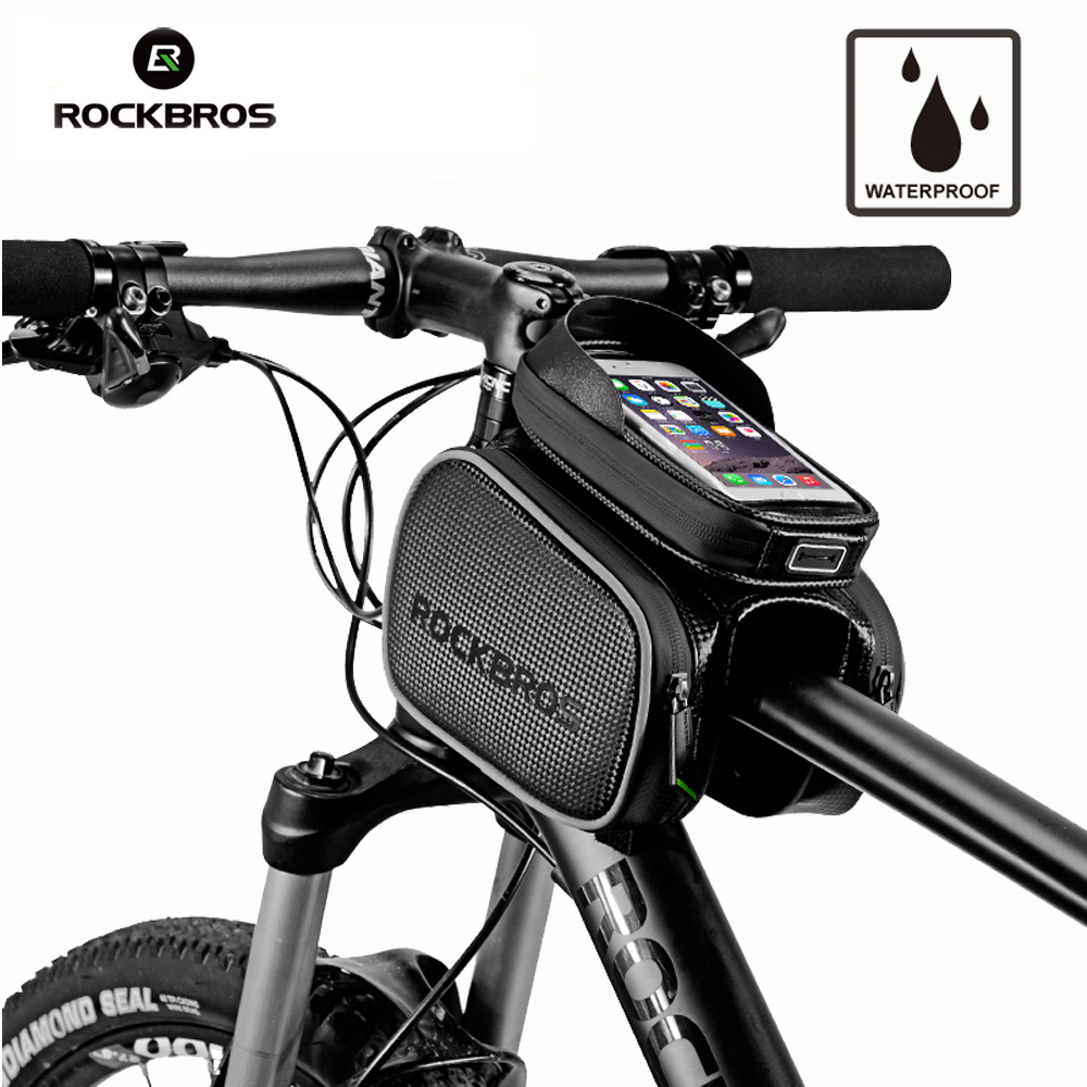 ROCKBROS Bicycle Bag Cycling Bike Top Tube Bag Rainproof MTB Bicycle Frame Front Head Cell Phone Touch Screen Bag roswheel attack series waterproof bicycle bike bag accessories saddle bag cycling front frame bag 121370 top quality