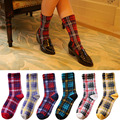 6 Pairs/lot New Japan Women Casual Grid Striped Socks Lovely Creative Cotton British Royal Simple Socks Female Mieas Calcetines