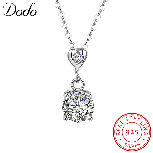 b7b483109b992 DODO 925 Sterling Silver Necklaces Heart Pendant   Long Link Chain Necklace  Cubic Zirconia Jewelry Collar Colar de Plata SN59