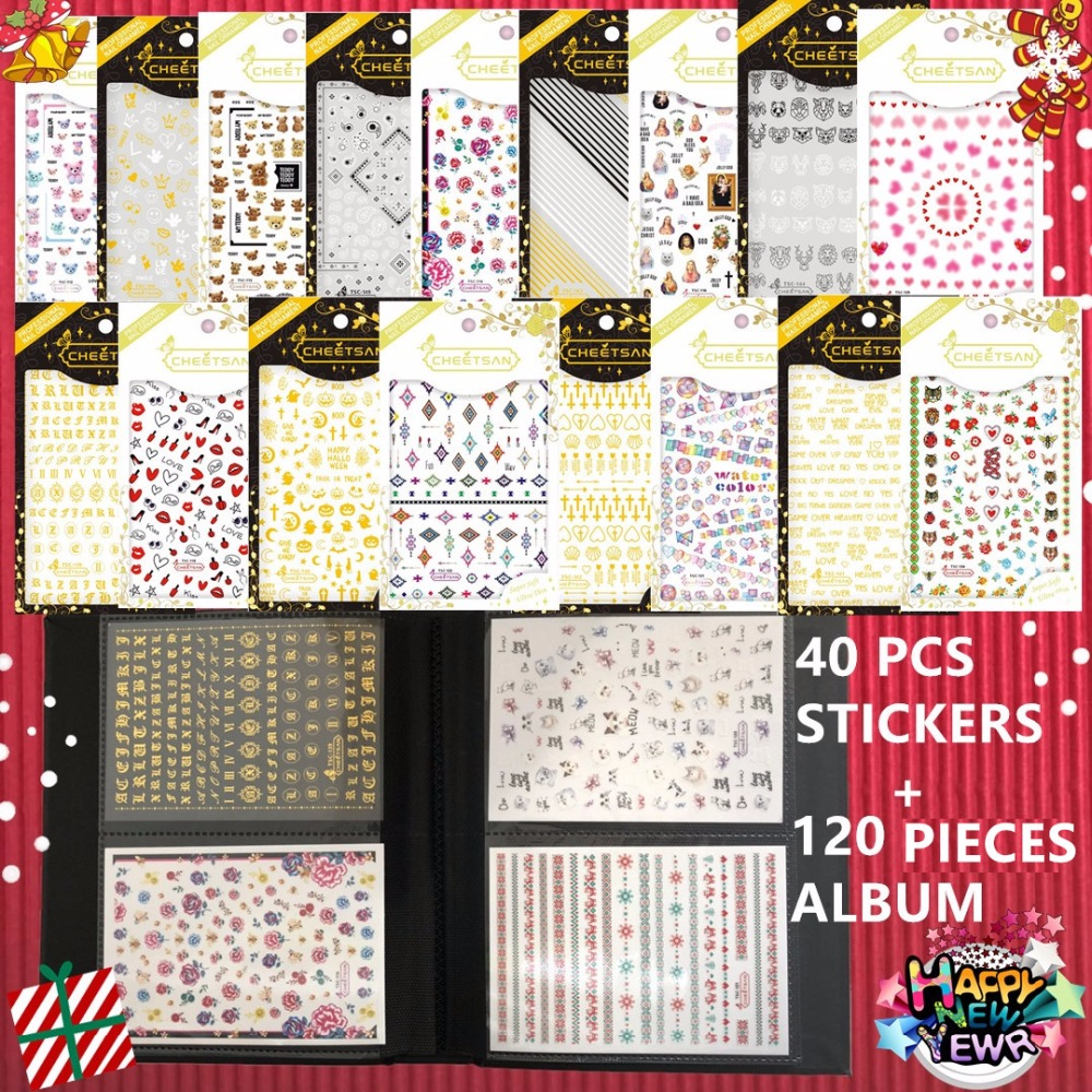 New Year gift set 40 pcs 3d nail art sticker and 1 album designs decals Tool DIY nail decoration accessories supplier yzwle 1 sheet diy designer water transfer nails art sticker nail water decals nail sticker accessories yzw 8043