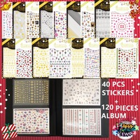 New Year Gift Set 40 Pcs 3d Nail Art Sticker And 1 Album Designs Decals Tool
