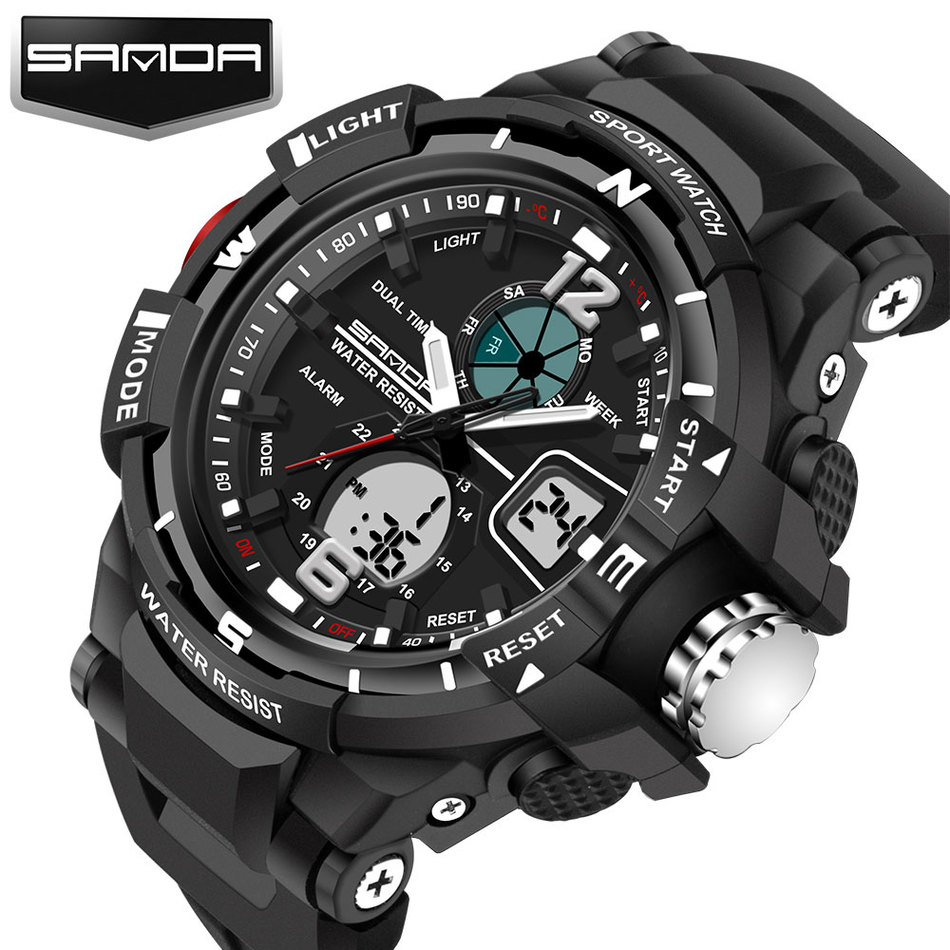 Топ Элитный бренд Санда многофункциональные спортивные часы Для мужчин кемпинг открытый Водонепроницаемый аналоговый Военное Дело Мужски…