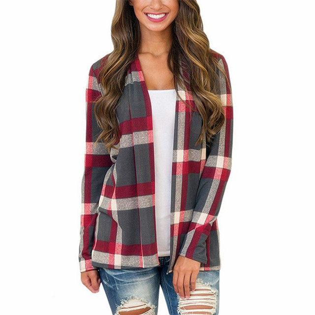 8692d66e27 2018 Sweater Cardigan Women Autumn Coat Casual Plaid Knitted Cardigan Long  Sleeve Patchwork Knitting Sweaters Tops Pull Femme