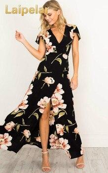 Laipelar, vestido de verano para mujer, Sexy, con escote en V profundo, gorra manga corta, corte informal, estampado Floral, Maxi vestido bohemio de playa, vestido largo