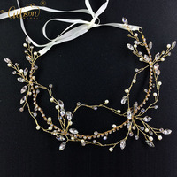 Forest Wedding Party Series Gold Hair Vine Bridal Head Piece Hair Accessories Crystal Hair Jewellery Wedding