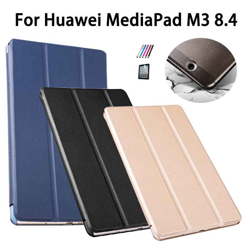 M3 8.4 Smart Flip cover pu leather case For Huawei MediaPad M3 BTV-W09 BTV-DL09 8.4 inch Tablet case Auto Sleep Wake +film+pen ultra thin pu leather case cover for huawei mediapad m3 btv w09 btv dl09 8 4 inch tablet cases stylus film
