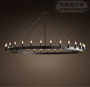 American Retro Industrial Designer Lamps Restaurant Bar Continental Iron 12  Round Table Candle Chandelier