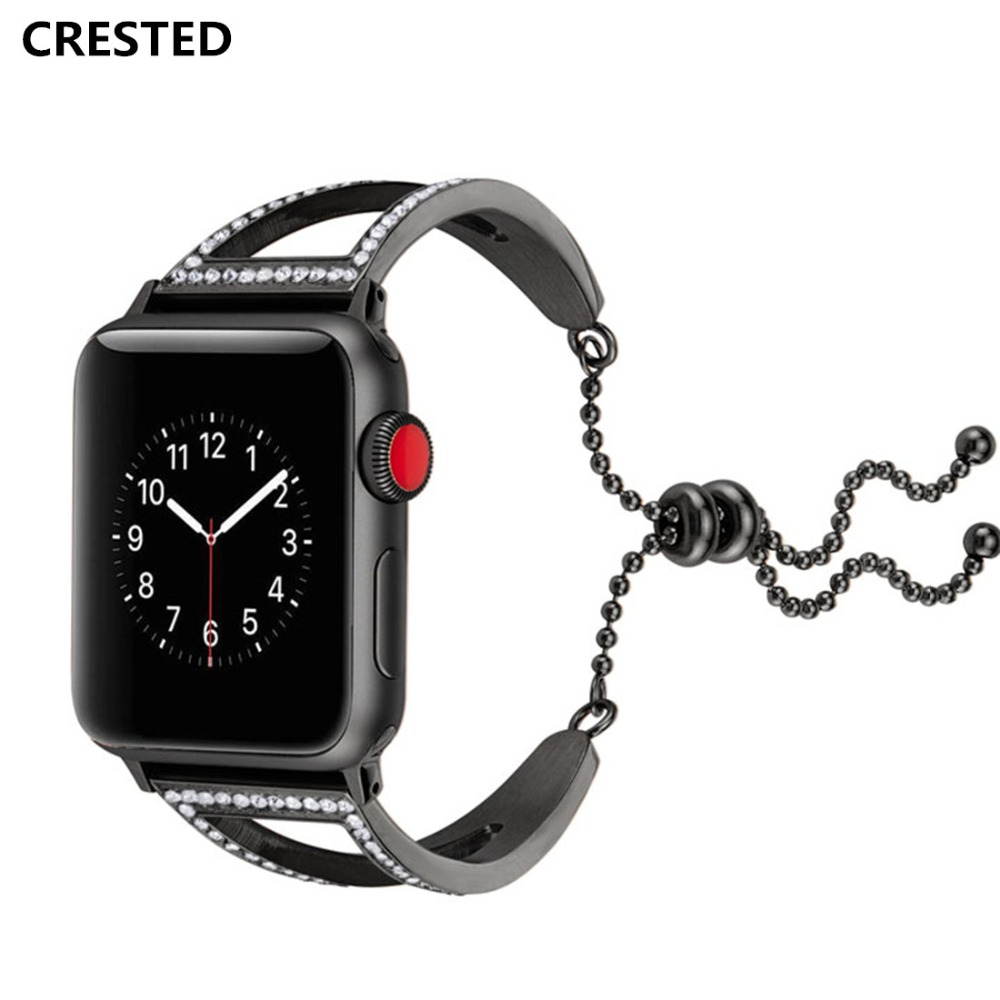 CRESTED Kristall Diamant Strap Für Apple Uhr Band 42mm 38mm Edelstahl Iwatch Serie 3 2 1 handgelenk armband Armband gürtel