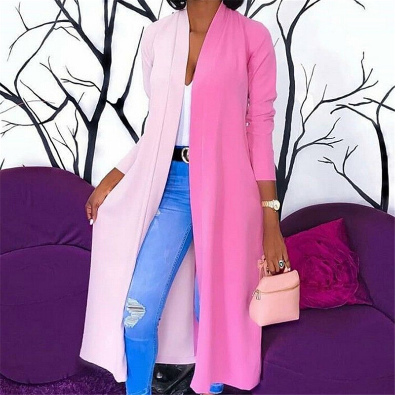 Fashion Womens Loose Long Cardigan Jacket Color Patchwork Coats Ladies Draped Tops Coat Jacket Autumn Long Fashion Womens Loose Long Cardigan Jacket Color Patchwork Coats Ladies Draped Tops Coat Jacket Autumn Long Sleeve Loose Jacket