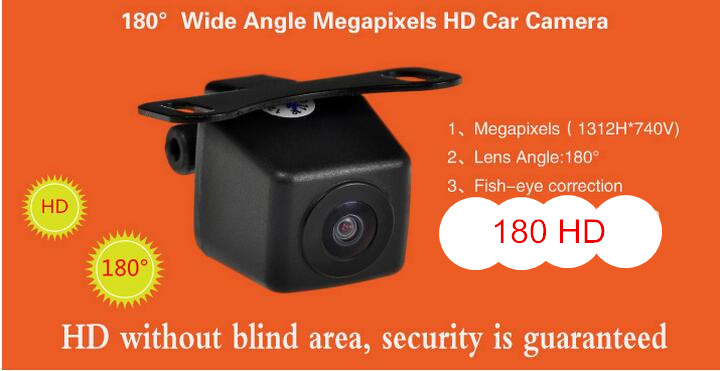 Best 180 wide Angle HD Car camera backup Vehicle with fish eye adjustment wire Automobiles rearview camera 12V wide no blind 18 5mm 300kp cmos waterproof wide angle wired car rearview camera pal dc 12v