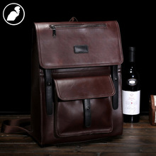 ETONWEAG New 2017 men famous brands Italian leather vintage multi-functional laptop school bags brown fashion travel backpacks