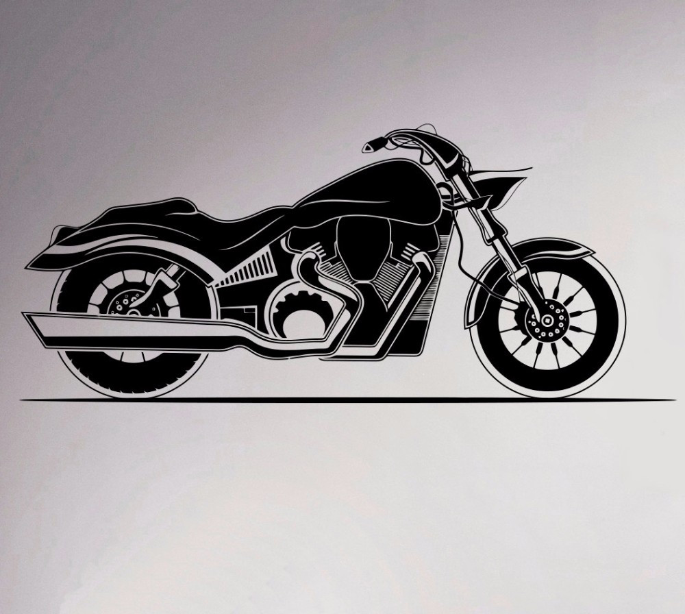 2017 New Motorcycle Wall Vinyl Decal Motorbike Sticker Removable Garage Decor Sport Club Home Interior Bedroom Murals