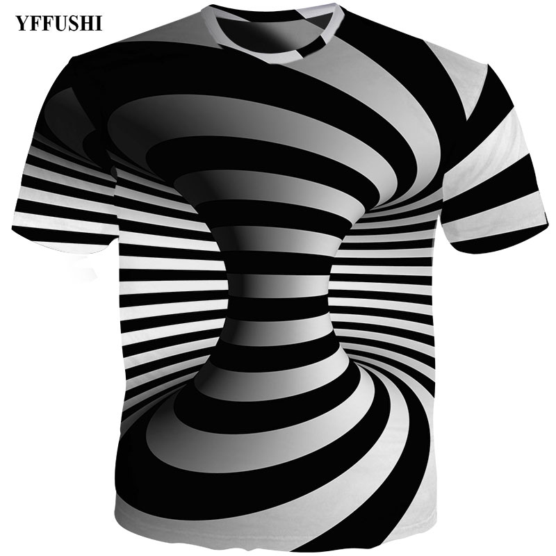 fc443fca9 YFFUSHI 2018 New Male 3d t shirt Fashion O-Neck T shirt Striped Black Top