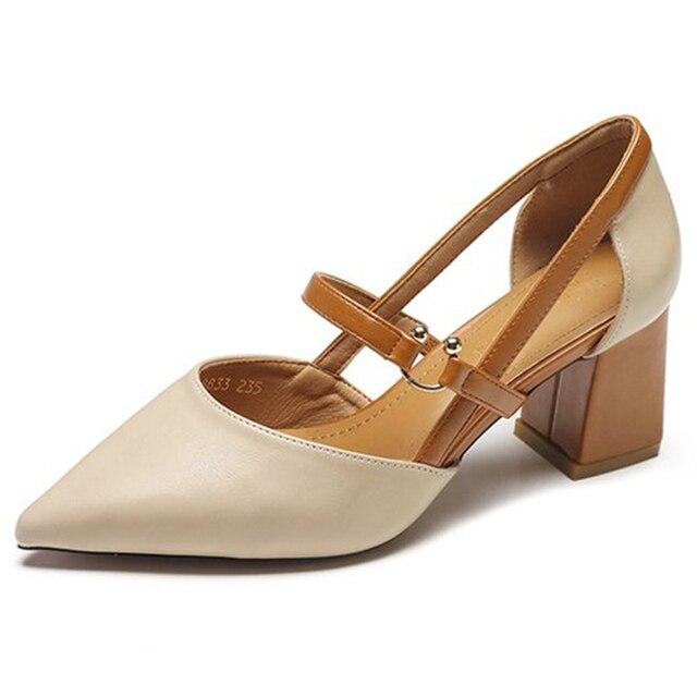 2018 new hot versione Coreana del selvaggio di spessore con scarpe singolo moda comoda a punta degli alti talloni