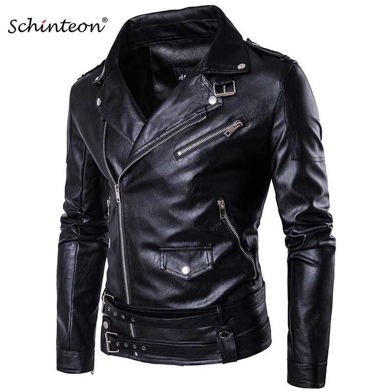 26ec67c1242 Плюс размеры для мужчин мотоциклетная кожаная куртка Верхняя одежда на  молнии ремень черный мужской из мягкой