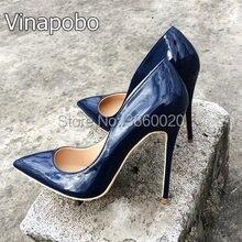 821c902d1b9075 2018 Nouvelle mode Bleu Stiletto Femmes de Haute Talon Chaussures de Dames  personnaliser slip-on