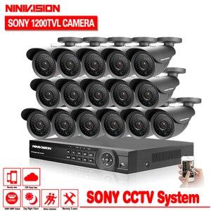 Image 1 - Início 16ch AHD DVR com a SONY 1200TVL CÂMERA de segurança ao ar livre Indoor câmera de cctv kit de 16 canais sistema de vigilância de vídeo hdmi 1080 p kit