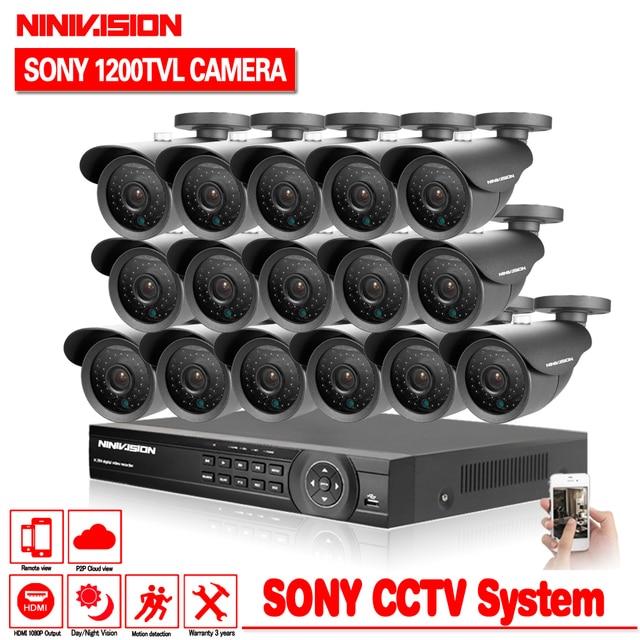 Início 16ch AHD DVR com a SONY 1200TVL CÂMERA de segurança ao ar livre Indoor câmera de cctv kit de 16 canais sistema de vigilância de vídeo hdmi 1080 p kit