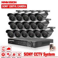 home 16ch AHD DVR with SONY 1200TVL Indoor outdoor security camera cctv system video surveillance kit 16 channel hdmi 1080p kit