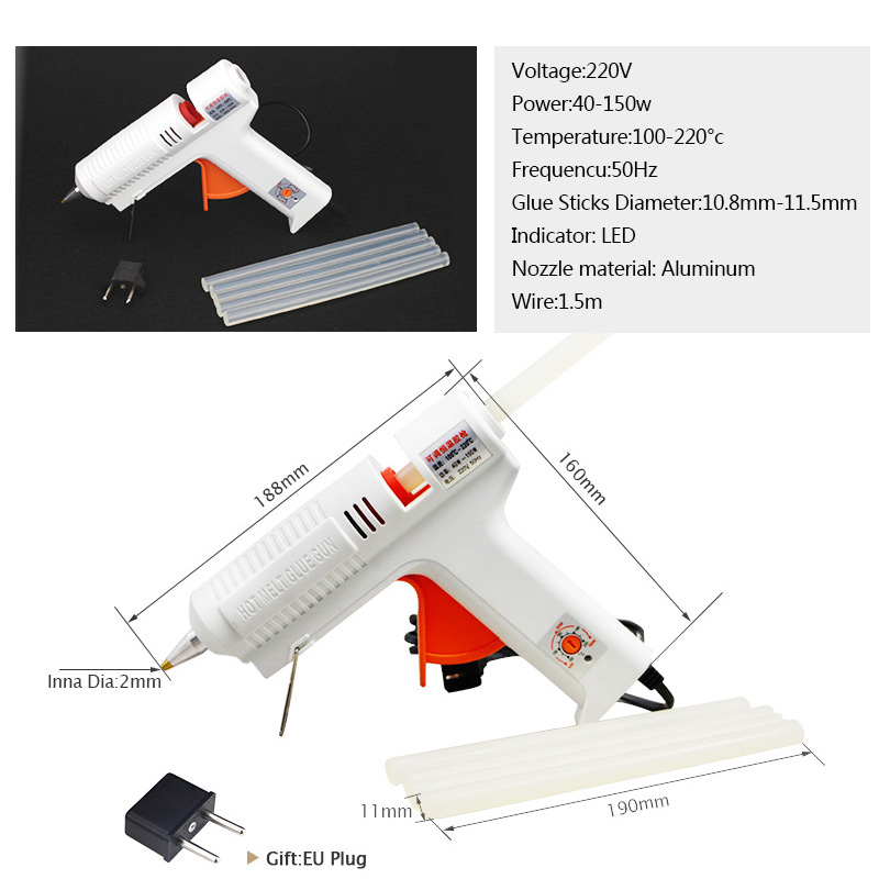 Image 2 - Free Shipping 220v 40 150w Hot Melt Glue Gun Temperature Adjustable Repair Kit Tools with 5 Pcs Glue Sticks-in Glue Guns from Tools on