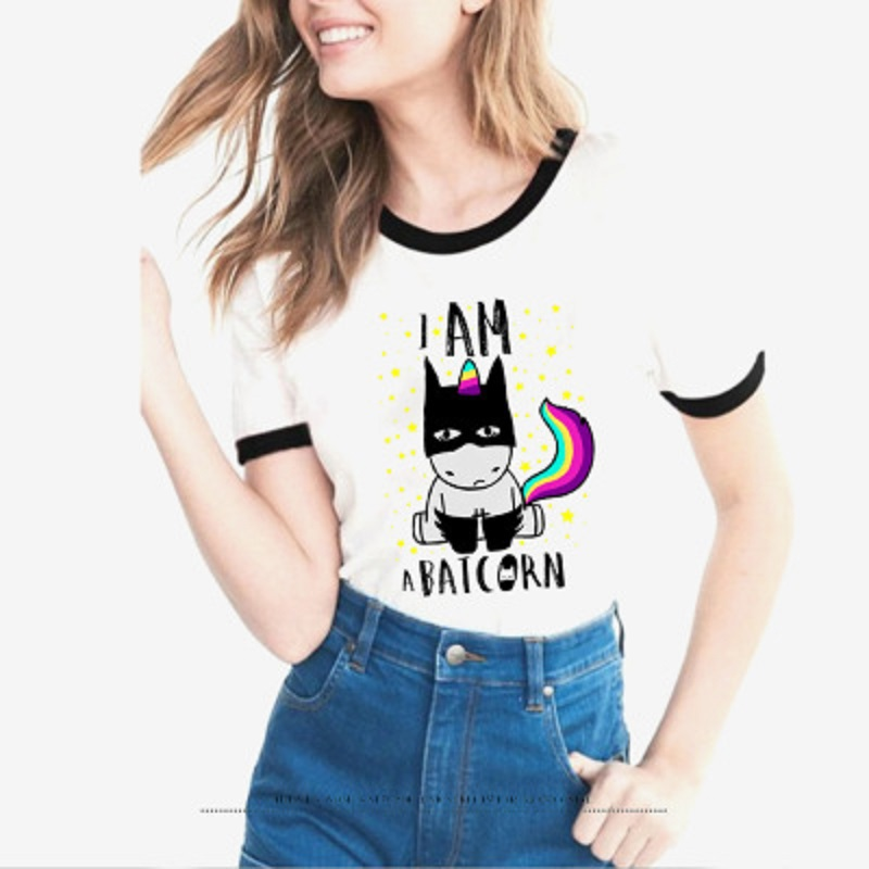 2018 New Summer Women Tops Anime Cartoon Batman Unicorn T Shirt Cool Tee Female Clothing Batcorn tshirt female t-shirt