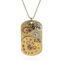 Good quality noval tag pendant steampunk mechancal gears neckace jewelry