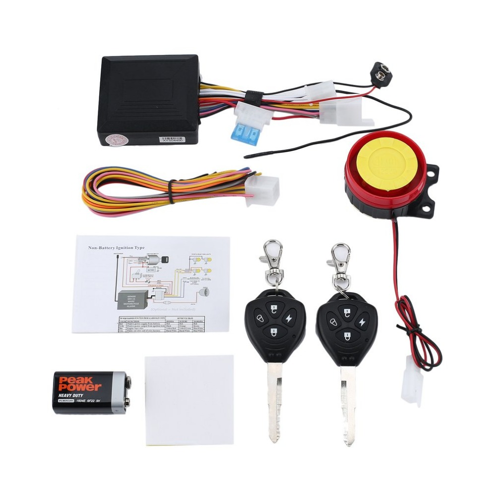 12V Motorcycle Bike Anti-theft Security Alarm System Scooter 125db Double Remote Control Engine Keyless Entry Start Alarm New