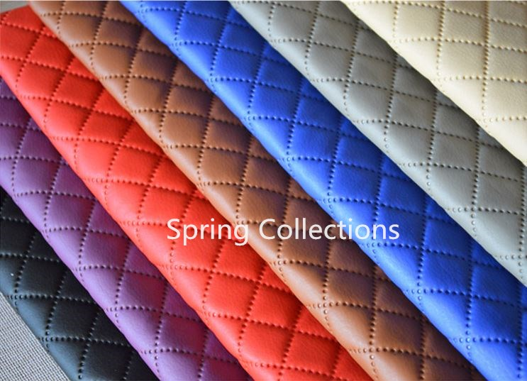 140 100cm furniture pu leather perforated embossing plaid - Burberry fabric for car interior ...