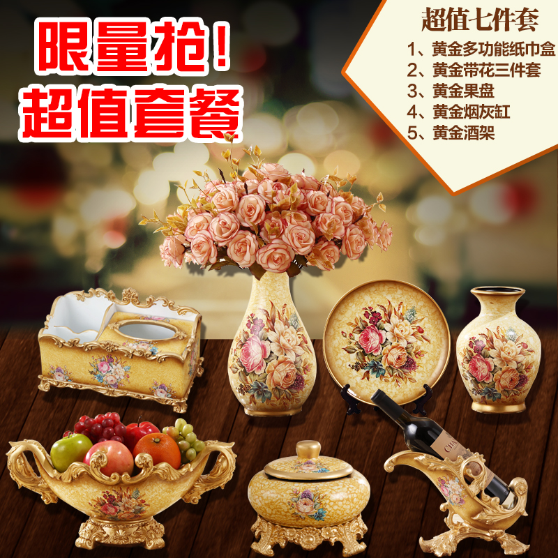 Seven times Fashion ceramic vase piece set home accessories decoration american artificial flower