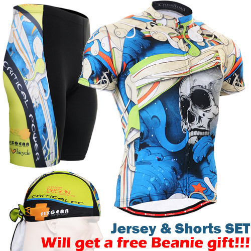 ФОТО 2016 cycling gear blue spring cycling wear funny Ciclismo Jerseys For Bicycle sports wear set Mens Cycling Short Set skulls