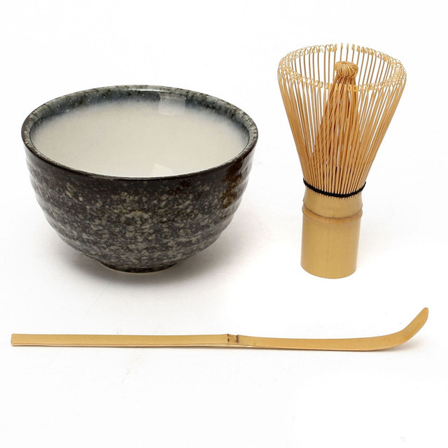 Retro 3in1 Bamboo Chasen Matcha Whisk Chashaku Tea Scoop Matcha Bowl Ceramic Tea Bowl Home Kitchen Tea Tools Set Tea Accessories