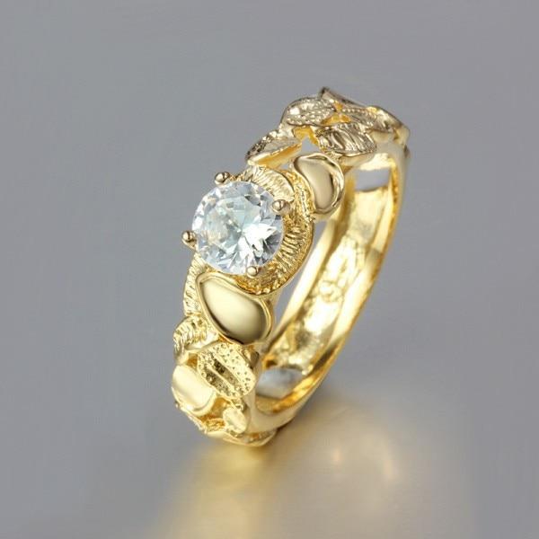 YHAMNI Fashion Chic 1 Carat CZ Zircon Engagement Ring Pure Gold