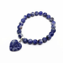 Wholesale Stone Beads Bracelets Elastic Bangle Colorful With Heart Charms For Women Jewelry Party Gifts 6 pcs a lot