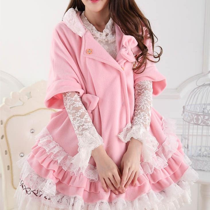 2016 winter fleece pink cute cloak batwing sleeve bow tie super soft lace coats women sweet