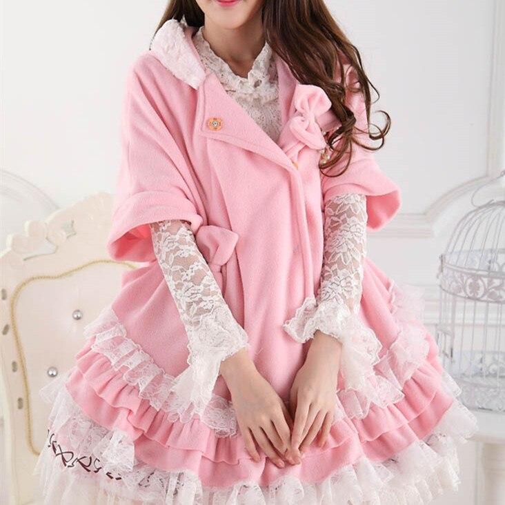 Princesse Arc Manteaux Super Rose Lolita Mignon Doux Dentelle Survêtement Pardessus Manches Hiver Cravate 2016 Manteau Chauve souris Polaire Femmes q8waZpH