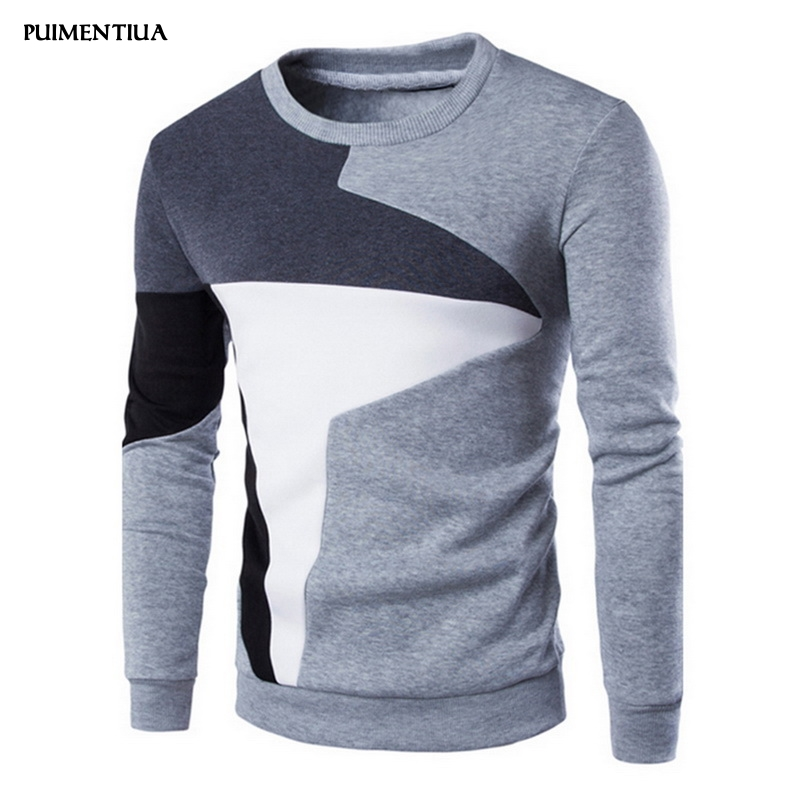 Puimentiua 2019 Fashion Pullover Men Long Sleeve Slim Fit Pullover Males Fall Spring Casual Patchwork Design Round Neck Pullover
