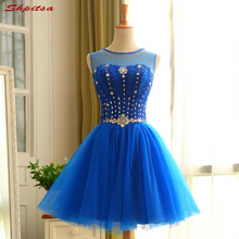Royal Blue Short Cocktail Dresses Womens Sexy Crystal Beaded Prom Coctail Dress for Party jurk vestidos