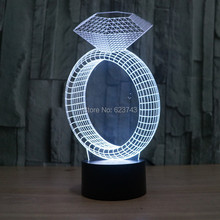 3D Illusion Ring with Diamond Night Light effect model 7 Color Change Desk Lamp LED Table Intelligent Remote Control