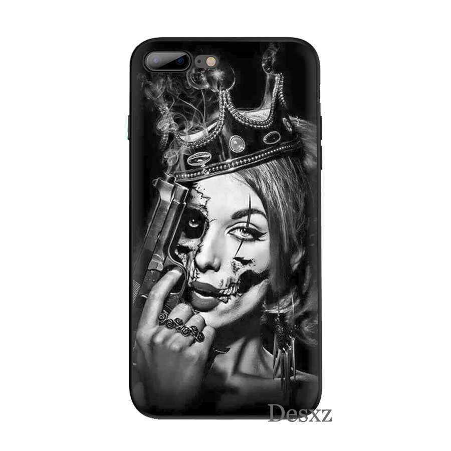 ซิลิโคน TPU เคสสำหรับ iPhone X XR XS MAX 6 6 S 7 8 PLUS 5 5 S SE Grim reaper Skull Skeleton หรูหรา