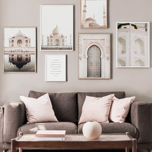 Taj Mahal Door Scenery Wall Art Canvas Painting Nordic Posters And Prints Pictures For Living Room Scandinavian Home Decor