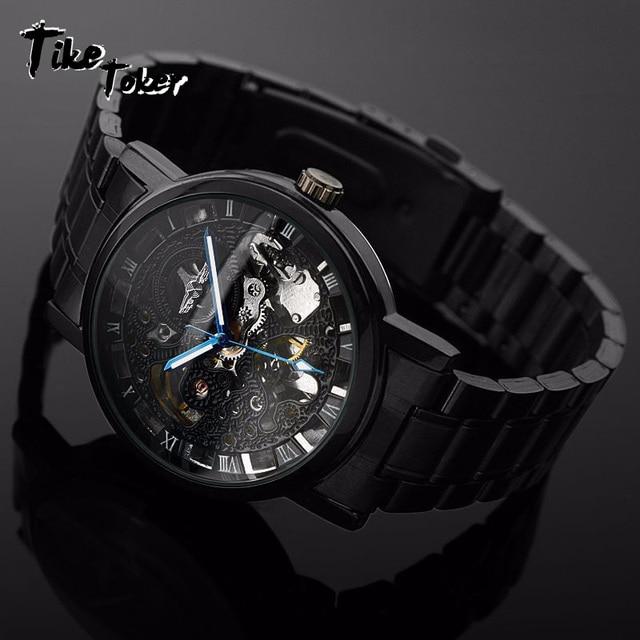 Tike Toker Nuevo Negro hombres esqueleto reloj de pulsera de acero  inoxidable antiguo Steampunk Casual automática 2d897fe0f95f
