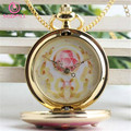 """[SGDOLL] Japanese Anime Sailor Moon Pink Magic Star """"Crystal"""" Pocket Watch Pendant Toys Necklace Cosplay Free Shipping 16051805"""