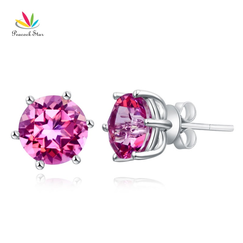Peacock Star 14K White Gold Stud 2.5 Ct Natural Pink Topaz Earrings 6 Claws Prong Classic