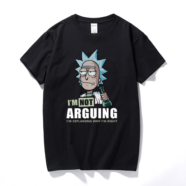 Rick And Morty I'm Not Arguing I'm Explaining Why I'm Right T-Shirt Funny Gift Camiseta Cotton Short Sleeve Cartoon T Shirt