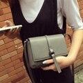 Mulheres Simples PU Leather Flap Bag Adolescente Meninas Retro Pequeno praça Dia Pacote de Saco de Mini Sacos de Ombro Estilo Cinza Feminino embreagem