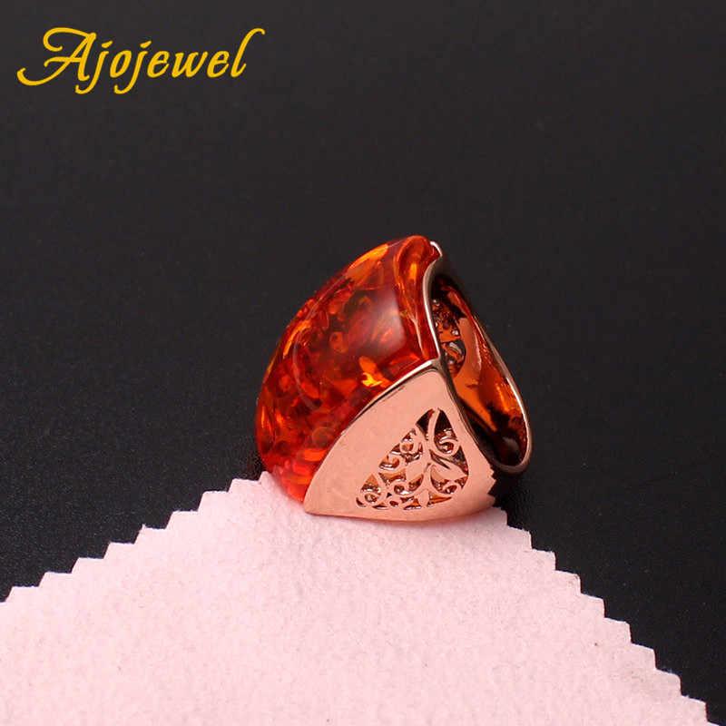 Ajojewel גודל 7-9 יפה כתום שרף גדול אבן טבעת נשים אביזרי חיקוי אנל תלבושות תכשיטים