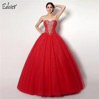 Giá rẻ Red Quinceañera Dresses Sweetheart Cườm Pha Lê Tulle Vestidos De 15 Anos Bóng Gown Sweet 16 Dresses Debutante Gown