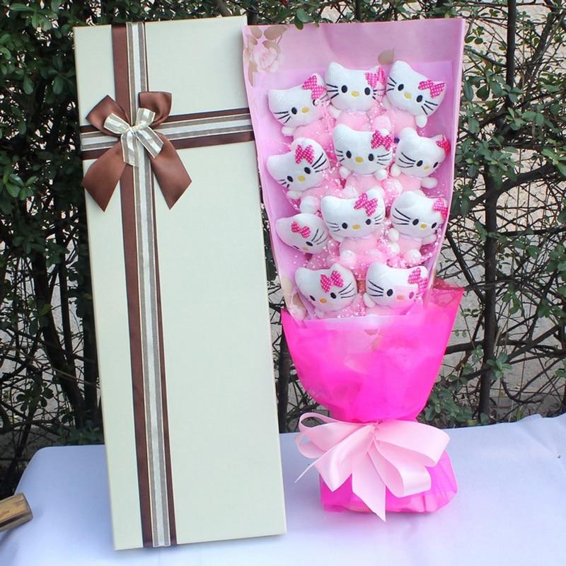 Voileroad Hello Kitty point Bouquet peluche 11 pièces Kitty peluche Bouquet belle à petite amie saint valentin cadeau avec boîte